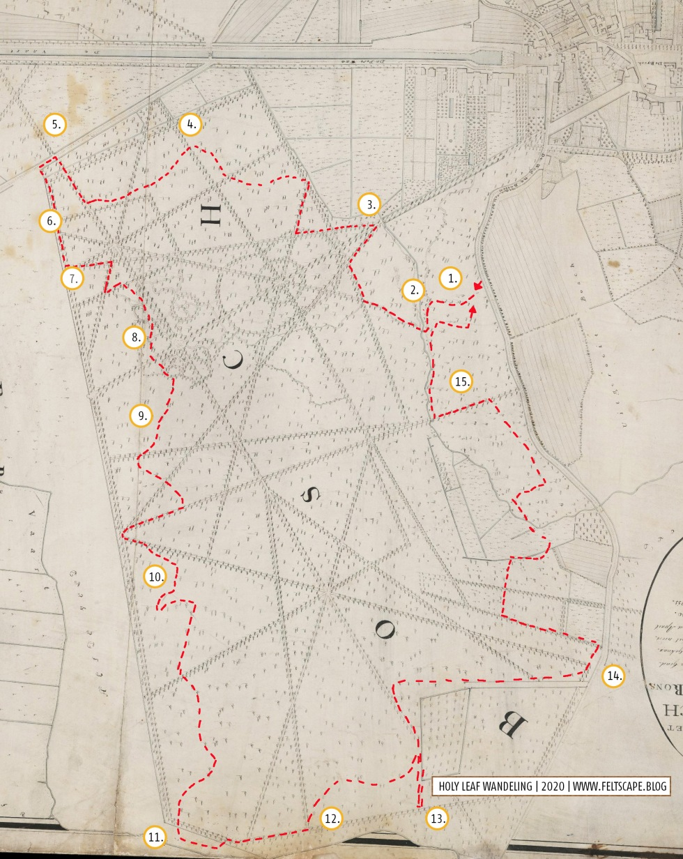 Basiskaart: Detail van plan van Assen met deszelfs Bosch Broek en Environs (1809) Kaartenmaker: P.A.C. Buwama Aardenburg . Drents Archief, TA 480